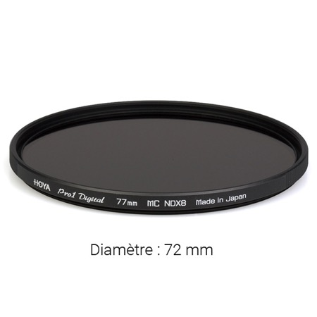 Filtre gris neutre HOYA Neutral Density Pro ND8 - Diamètre : 72 mm