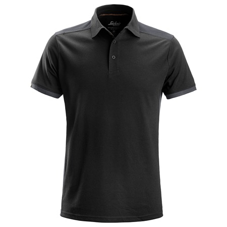 Polo polyester/coton SNIKERS - Noir/Gris - Taille XS