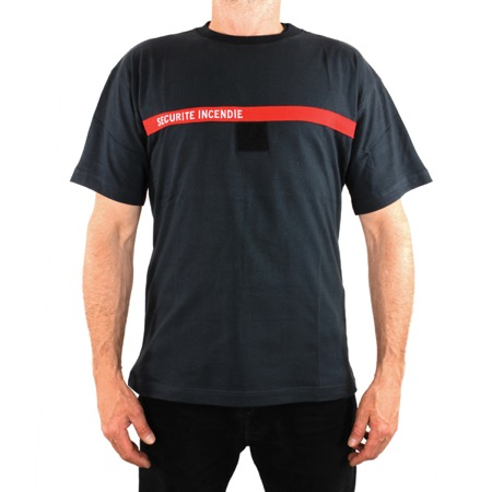 Tee-shirt anthracite bande rouge brodée SECURITE INCENDIE - Taille L