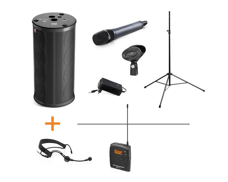 Enceinte sur batterie à 360° + 2 micros HF Sennheiser KOLIBRI