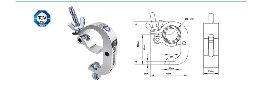 Collier double à rotation 360° 48-51mm alu CMU 300 kg KUPO
